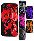 For iPhone 4 4S Gamer Skull Hybrid Rubber Silicone Case Phone Cover Accessory