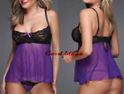 Plus Size Sexy Ladies Purple Sheer Slip Dress Chemise Lingerie + G-string GS1380