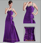 Halter Purple Evening Prom Wedding Dress Bridesmaid Gown Ball Satin Size 6-26