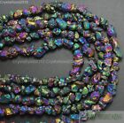 Natural Quartz Crystal Druzy Colorful Chip Nugget Metallic Titanium Coated Beads