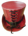 Steampunk dark red leather look Tophat
