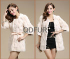 Real Rex Rabbit Fur Coat Women Long Jacket Winter Outwear Overcoat Warm Parka