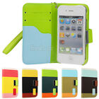 Hybrid Leather Wallet Flip Cover Pouch Stand Case For iphone4 4S 4G 5 5S 5G