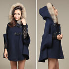 Womens Hooded Poncho Cape Trench Coat Winter Faux Fur Shawl Wool Jacket Cloak E