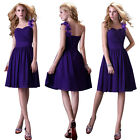 Purple One Shoulder Bridesmaid Wedding Cocktail Evening Dress Short Prom dress