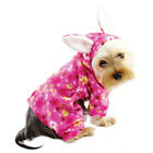 Dog Clothes Floral Bunny Fleece Hooded Pink Bodysuit w/ Bunny Ears SM NEW