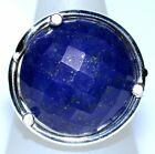 925 Sterling SILVER Rings BIG Blue Lapis Lazuli Faceted Gem Ring All Size N to U