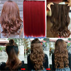 Finest One piece long Straight Curly 5Clips hair extension clip-on Cosplay party