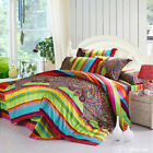 Long-Staple Cotton Rainbow King/Queen Size Quilt/Duvet/Doona Cover Set Bed Linen