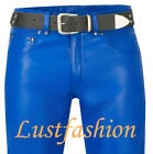 men`s Leather trousers new blue 501-st  leather pants leather jeans royal blue