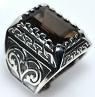 Chunky Solid Sterling SILVER Rings Emerald cut Smoky Quartz 925 Mens Ring Size