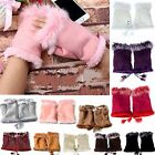 New lady girl  Warm  Hand Wrist Warmer Fingerless Gloves Real Rabbit Fur