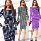 Womens Pinup Polka Dot Ruched Party Cocktail Bodycon Shift Pencil Midi Dress 469