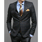 New for mens Premium Dress 1-BUTTON SUITS NAVY CHECK 40R size 3piece set -656