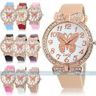 New Quartz Cute Weave WRAP Butterfly Leather Bracelet Girl Woman Wrist Watch