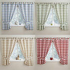 Check Gingham Kitchen Curtains With Tab Top Header. Blue, Green, Natural & Red