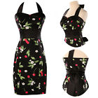 Vintage 50s 60s Floral Pinup Pencil Fitted Wiggle Swing Dress Prom Evening Dress
