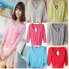 Summer Ladies Knit Silk Cotton 3/4 Sleeves Button Cropped V Neck Casual Cardigan