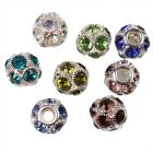 Popular NEW Dots Colorful Rhinestone Ball Shape Alloy European Beads Jewellery