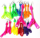 Pierced Earrings Dangling Dangly Neon Fluorescent Zippers Zip Party Fashion
