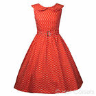 Vintage / Retro Polka Dot 50s Shawl Collar Swing Dress in Red Or Navy Blue