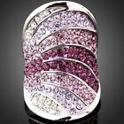 Austrian Crystal Purple Rainbow Wide Band Gold GP Ring