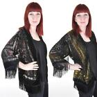 VELVET SHEER FRINGED KIMONO JACKET Bolero Wrap Twenties Art Deco One Size VTG
