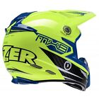 LAZER MX8 CARBON TECH LIGHTWEIGHT MOTOCROSS MX OFF ROAD HELMET HIVIZ YELLOW BLUE