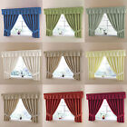 "Plain Dyed Half  Panama Kitchen Curtains With 3"" Tape Top Header + Tie Backs"