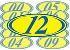 Blue And Yellow 2-digit Oval Year Stickers (multiple item shipping discount)