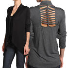 TheMogan Plus Cut Out Back Draped Open Front Cardigan