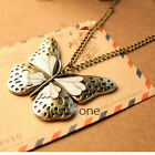 New Bronze Vintage Sweater Shirt Dress Butterfly Pendant Necklace f. Women Girls