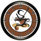 COFFEE SHOP WALL CLOCK GIFT WALL DECOR ART CUP CAPPUCCINO BAKERY RESTAURANT