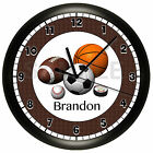 SPORTS WALL CLOCK PERSONALIZED GIFT FOOTBALL HOCKEY BASKETBALL SOCCER BASEBALL