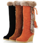 Womens Wedge Boots Knee High Rabbit Fur Trimmed Fringes Warm Pull On Shoes Size