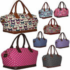 Ladies Large Designer Handbag Butterfly /Dot Canvas Shoulder Bag Weekend Holdall