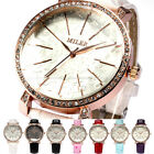 Rose Gold Crystal Ladies Women Star Glass Surface 7 Colors Quartz Wrist Watch