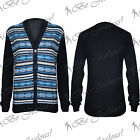 Mens Front Buttons Aztec Knitted Long Sleeves Knitwear Sweater Cardigan Top Size