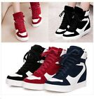 Womens Vogue Suede Leather Lace Up Hidden Wedge Hi Top Trainers Sneakers Shoes
