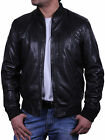 UK Men's All Leather Vintage Biker Jacket Black Summer Retro Style Bomber Jacket