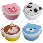 Microwaveable Plastic Cute Cartoon Double Layer Bento Lunch Meal Case Box &Spoon