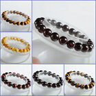 8mm to 11mm Tiger eye garnet gems stone round beads stretchable bracelet 7""