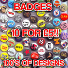 Mixed Retro Button Badges - Funky Cool Designs Pin Badges. Cheap Clearance Stock