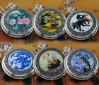 New Steampunk ENAMEL Painting Pocket Watch Quartz Clock Necklace Mens Lady Gifts