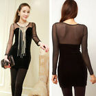 Black New Womens V-neck Perspective Long Sleeve Mesh Nightclub Package Hip Dress