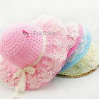Lovely Kids Girls Baby Lace Node Brim Summer Beach Sun Straw Hat Cap