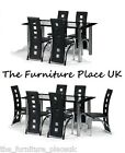Brescia Glass Dining Set 4 OR 6 Chairs With Black PU Leather and Chrome