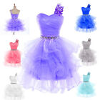 Noble Crystals Short Formal Ruched Party Prom Bridal Gown Evening Princess Dress
