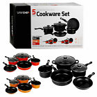 3 Or 5 Piece Urbn Chef Non Stick Carbon Steel Pot & Pan Sets With Lids Cookware