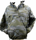 Hooded Surplus Night Camouflage Windbreaker Jacket Water-Resistant Fleece Lined